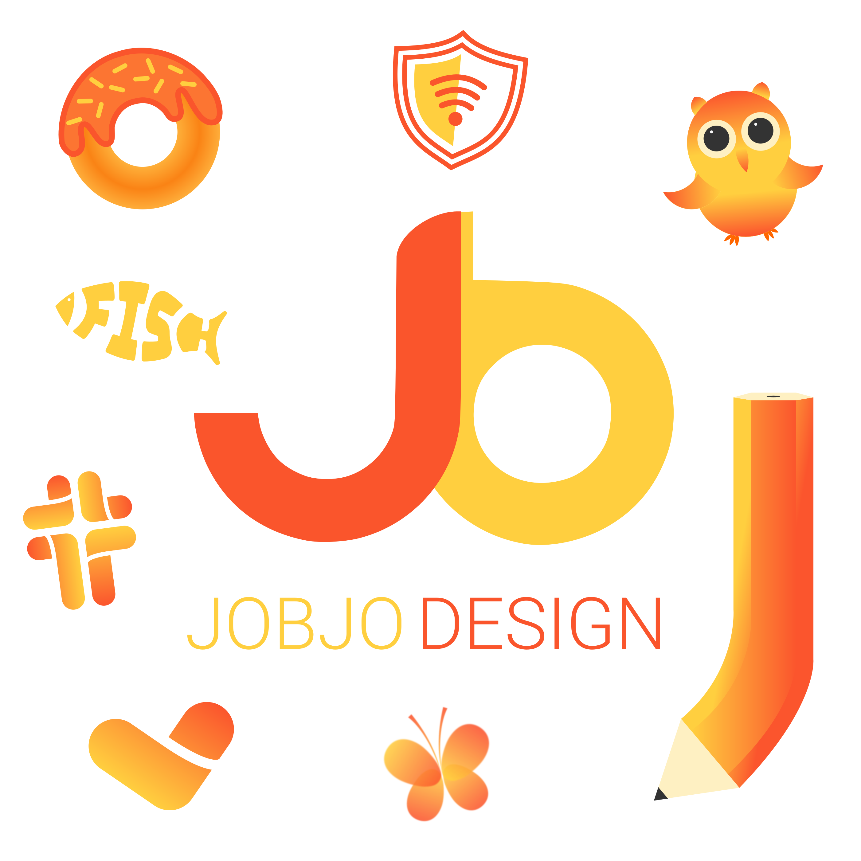 jobjo design logo collage white
